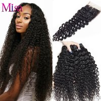 Wholesale Malaysian Swiss Lace Closure - Malaysian Virgin Hair Kinky Curly 3 Bundles with Closure Malaysian 4*4 Swiss Lace Closure Human Hair Weave Bundles with Closure