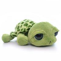 Wholesale Stuffed Turtles Big Eyes - Wholesale- Cute Green Plush Turtle Stuffed Cartoon Big Eyes Turtle Home Decoration Kids Doll Toy for Kids Birthday Christmas Gifts 5''