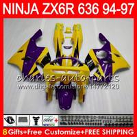 1996 kawasaki ninja zx6r großhandel-8 Geschenke 23 Farben Für KAWASAKI NINJA ZX636 ZX6R 94 95 96 97 ZX-6R ZX-636 33NO30 600CC gelb lila ZX 636 ZX 6R 1994 1995 1996 1997 Verkleidung