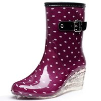 Wholesale Platform Rubber Rain Shoes - Wholesale- Botas Mujer 8 Styles Wedges Rain Boots Women 2016 Dot Rainboots Round Toe Buckle Mid Calf Platform Shoes Women Boots WW787