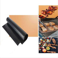 Wholesale Wholesale Copper Pan - BBQ Grill Mat No Stick Barbecue Cover 33*40cm Black Copper Outdoor Pad Sheet Tools Cooking Tool OOA1903