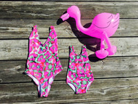 Wholesale Tree Spandex - 2017 Family Matching Swimsuit Swimwear Mother Daughter Clothes Coconut tree Leopard bikini Summer Beach Bathing Suit E3221