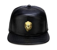 chapéus de couro do snapback do ouro venda por atacado-Logotipo da Cabeça de Leão de Metal ouro PU Boné de Beisebol de Couro Ocasional Unisex Fivela de Cinto Hip Hop Rap 3 Painel Sol Snapback Chapéus Das Mulheres Dos Homens