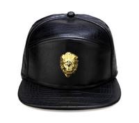 Wholesale Metal Snapback Hats - Metal Gold Lion Head Logo PU Leather Baseball Cap Casual Unisex Belt Buckle Hip Hop Rap 3 Panel Sun Snapback Hats Men Women