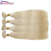 Long Straight Blonde Malaisie Bulk Hair Hair Extensions Non Traité 613 Platinum Blonde Cheveux Verts Humains Bulk Non Attachement 3 Bundles