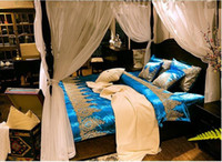 Wholesale Luxury Silk Bedspreads King Size - Palace Lace Bedding set blue duvet covers bed in a bag sheets sheet spread bedspreads King Queen size quilt bedset Cotton Luxury