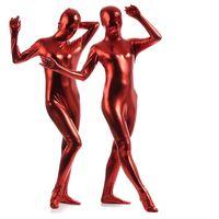 ingrosso costume pieno del corpo del lattice-Plus Size S-XXL 11 Colori Shiny Metallic Zentai Catsuit Elegante completo Body Suit Alta elasticità Wet Look Latex Spandex Skin Suit