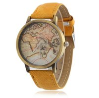 Wholesale Map Pattern Pu Leather - World Map Plane Pattern Watches Men Women Brand Designer Retro PU Leather Strap No Second Hand Quartz Movement Casual Watch 0911 Wholesale