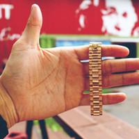 Wholesale Elegant Bangle Watch - Brand New Elegant 15mm Stainless Steel Golden Crown President Style Bracelet Watch Band Strap Solid Links DJ Bracelet Bangle