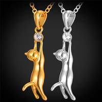 Wholesale Cat Platinum - Cute Cat Pendant Necklace Clear Austrian Rhinestone 18K Real Gold Platinum Plated Fashion Women Jewelry Lovely Gift
