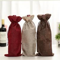 ingrosso sacchetti di regalo del drawstring del burlap-Sacchetti di vino di iuta Champagne Wine Bottle Covers Sacchetto regalo sacchetto di imballaggio di tela Decorazione della festa nuziale Sacchetti di vino Coulisse la copertura KKA2216