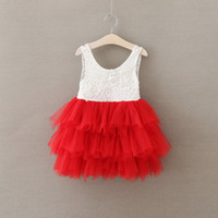 Wholesale Half Pearls Wholesale - Girls Crochet Lace Dresses Babies Princess tutu Party dress Kids Girls childrens Summer clothing Sleeveless Pearl Dress