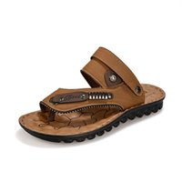 Wholesale Genuine Leather Men Wholesale Sandals - Wholesale- Men's Summer Brand Sandals Slippers New 2016 Genuine Leather Platform Beach Strappy Slippers Free Shipping Discount 39-44