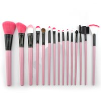 Wholesale Wooden Bag Handles Wholesale - 15pcs Brushes Kit Pink Wooden Handle with a Fashionable Customized Makeup Bag Natural Daily Makeup Beauty Tool Romance What a Girl Wants