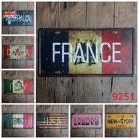 Wholesale tin signs decor for sale - Group buy France USA New York London Canada Mexico Italy Australia Car Metal License Plate Vintage Decor Tin Sign Bar Pub Cafe Garage Metal Sign