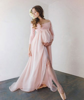 Wholesale Maternity Maxi Dress Sleeves - Attractive Chiffon Maternity Dresses For Photo Shoot With Long Sleeves Split Front Pregnant Gown Off The Shoulder Custom Made Maxi Dress