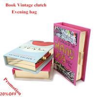 Wholesale Book Cover Printing - Wholesale- 2016 New fashion Vintage book style 3d print women's handbag clutch evening bags party shoulder chain cross body messenger bag