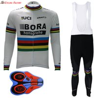 Wholesale Cycling Jersey White Pants Long - 2017 White BORA Men Long Sleeve Cycling Jersey bib long pants kits Polyester +Coolmax Jersey and Pant Wear Clothing bicycle Team
