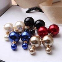 Wholesale Japanese Pearls Wholesale - Double Stud Earrings Before And After The Size Of The Pearl Personality Japanese And Accessories Wholesale Fashion AAA+ Luxury Jewelry