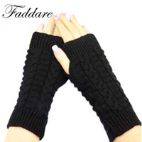 Wholesale Fingerless Gloves Stylish - 2017 New Stylish Winter Warm Hand Arm Crochet Knitting Wool Mitten Fingerless Gloves For Women