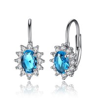 Wholesale Light Blue Stone Jewelry - BELAWANG 925 Sterling Silver Light Blue Crystal Stone Stud Earrings with Tiny White Cubic Zirconia Women Vintage Earrings Silver 925 Jewelry