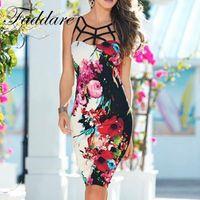 Wholesale Night Clubwear - Fashion Summer Flower Print Women Clothing hollow out Dress Sexy Pattern Dresses Women Bodycon Bandage Night Clubwear