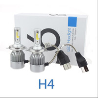 Wholesale Super Bright H4 Bulbs - 1Set 72W 7600LM COB Chip C6 Super Bright Car Lights White Color 6000K H4 Car LED Headlight Bulb