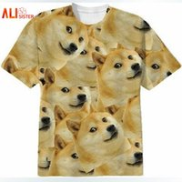 Wholesale T Shirt Dog Head - Alisister Harajuku Women Men Funny Head Doge 3D Short Sleeve T-shirt Deus God Dog shiba Inu Print 3D Tees Tops Plus Size 17310