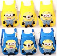 Wholesale Despicable Backpack School - children's backpack Cute 3D eyes Despicable Me Minion Plush Backpack Child PRE School Kid Boy and Girl Cartoon Bag School bag