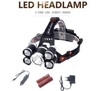 Wholesale Cree Headlight Zoomable - 18000LM CREE T6+4*XPE LED Headlamp 5LEDs Headlight Waterproof Lamp Zoomable light 18650 Battery USB charger Riding Hunting