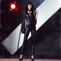 Wholesale Tight Black Leather Jumpsuit - The Witch Seductive Wear Cosplay Costume Jumpsuits Tight-fitting Coat Of Paint Black DS Clothing Patent Leather Outfit