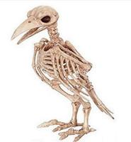 Wholesale Halloween Plastic Skeleton - Wholesale- Crazy Bone Skeleton Raven Plastic Animal Skeleton Bones Horror Halloween Decoration Halloween Prop Bird Crow Skeleton Decoration