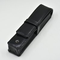 Wholesale stationery leather online - luxury black PU leather genuine leather MB pen case Stationery Office high quality Pen pouch brand set gift pencil bag
