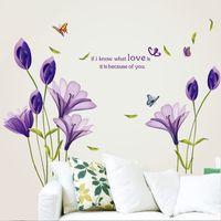 Wholesale Free Purple Wallpaper - Free DHL Love Purple Lily Flower Removable Vinyl Decal Wall Sticker Mural DIY Art Living Room Decorative Home Decor Wallpaper 60*90cm