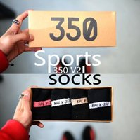 Wholesale Wholesale Baseball Shoes - 1PCS breathab 350 V2 Socks with box 4 Color SPLY 350 Men Women Socks Free Size Sports Socks with 350 boost Running shoes