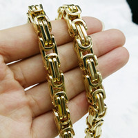 Wholesale 14k Pure Gold Necklace - Golden plated ship free Fangle 8mm Fashion Cool Stainless Steel Men's Byzantine chain handmade Necklace Wholesale pure metal