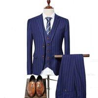 Wholesale Men S Vest Pants - newborns with high quality fashion single-breasted suit men, red gray blue striped suit and size S - XXXL, coat + pants + vest for c