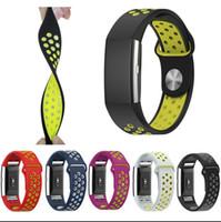 ingrosso colore wristband regolabile-Cinturino sportivo doppio colore per cinturini regolabili in silicone con fascia di carica Fitbit 2 per bracciali Fitbit Charge2 Smart Braccialetti