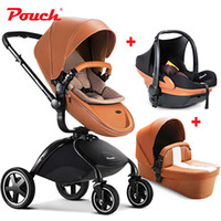 Wholesale trolley stroller - 2017 Pouch baby stroller 3 in 1 suspension folding child trolley car seat baby basket Bassinet Combo High Landscape 2 in 1