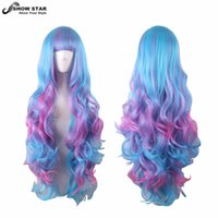 Wholesale Cosplay Lolita Wigs White - SHOWSTAR Pretty Harajuku Hairstyle Blue Pink Ombre Wig Long Wavy Rainbow Multi Color High Quality Synthetic Cosplay Lolita Wig Cosplay women