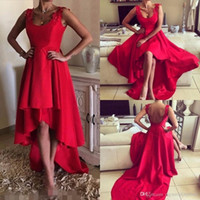 Nach Maß 2017 Kurz High Low Red Prom Kleider Tiers Röcke Applique Backless Cocktail Ballkleider Formal Billig Sexy Abendgesellschaft Kleid