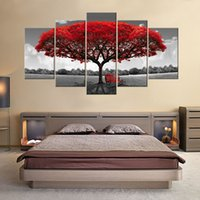 Wholesale Wooden Tree Decor - 5 Panels Red Tree Canvas Painting Flowers Wall Art Landscape Artwork Print on Canvas Ready to Hany for Home Wall Decor Wooden Framed
