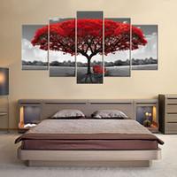 peinture murale fleur rouge achat en gros de-5 Panneaux Arbre Rouge Peinture Sur Toile Fleurs Mur Art Paysage Illustration Imprimer sur Toile Prêt à Hany pour Home Wall Decor En Bois Encadré