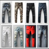 Wholesale Men S Casual Slim Trousers - Distressed France Fashion Pierre Straight Jeans Men's Biker Jeans Hole Stretch Denim Casual Jean Men Skinny Pants Elasticity Ripped Trousers