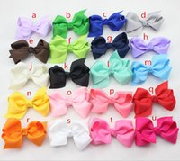 Wholesale Cheap Hairbows - Wholesale- 2.75 inch Cheap Ribbon Boutique Hair Bows For Children Hair Accessories Baby Hairbows with Clip 40 pcs lot Free Shipping