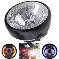 12v motorrad führte scheinwerfer großhandel-7 Zoll 35 Watt 12 V Universal Motorrad Scheinwerfer Runde LED Blinker Indikatoren Licht mit Halter für Motorrad MOT_21D