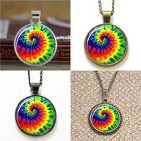 Wholesale glass dyes - 10pcs Tie Dye Jewelry Pendant glass Necklace keyring bookmark cufflink earring bracelet