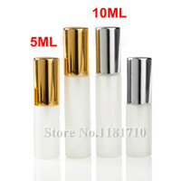 Wholesale Glass Atomizer Bottles Frosted - 5ML 10ML Frosted Glass Spray Bottle Portable Empty Perfume Atomizer Refillable Mini Sample Glass Vials with Gold Silver Cap