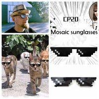 Wholesale Mosaic Wrap - Fashion Stylish big Boys Girls Sunglass Anime Mosaic sunglasses Halloween 8 Bit Pixel Deal With IT glasses YYA416