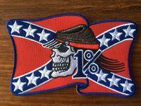 banderas de bordado de hierro al por mayor-¡GRAN VENTA! Rebelde 1% Bandera Americana MC Biker Parche Bordado Hierro en Cosa en parche insignia 10 unids / lote Applique DIY Envío Gratis